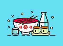 Sushirulle, ramen och skull för matjapan för asiatisk kokkonst kulinariskt mål stock illustrationer