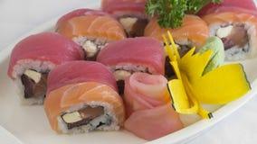 SushiSalmonTuna Photographie stock libre de droits