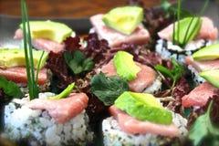 SushiSashimi Nigiri Nori Chutoro Toro Salmon Tuna Arkivfoto