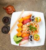Sushisatz Japnese-Lebensmittel Lizenzfreies Stockbild