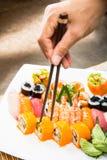 Sushisatz Japnese-Lebensmittel Stockfoto