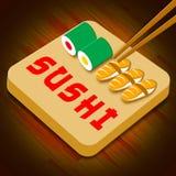 Sushisortiment som visar illustrationen för Japan kokkonst 3d vektor illustrationer