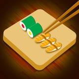 Sushisortiment som visar illustrationen för Japan kokkonst 3d royaltyfri illustrationer