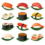 Sushisymboler royaltyfri illustrationer