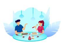 Sushitid Par i kafét som äter rullar royaltyfri illustrationer