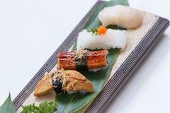 Sushiuppsättning: Grillade Foie Gras, grillad Unagi japansk sötvattens- ål, tioarmad bläckfisk och Hotate kammussla Arkivbild