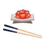 Sushivoedsel en eetstokjes vectorillustratie Stock Fotografie