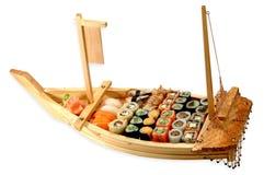 Sushy Allsorts On Sailing vesse. Isolated on white background royalty free stock image
