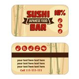 Susi discount card template. Vintage Sushi Bar Discount Card. Vector illustration Royalty Free Stock Photos