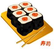 susi för sushi för porslinmatrulle Royaltyfri Foto