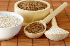 Susi foods zdrowy odżywianie - lnów ziarna i owsa otręby obraz royalty free