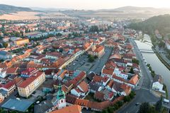 Susice city - aerial photo stock images