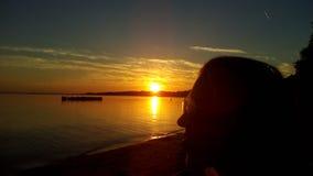 Susnset di calma della natura del lago del mare del cielo Immagini Stock Libere da Diritti