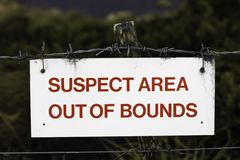 Suspect Area out of bounds Sign. Stock Photos