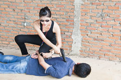 Suspect en état d'arrestation. image libre de droits