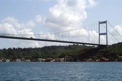 Suspended Bridge. A suspended bridge in Istanbul, Turkey across Bosphorous River Royalty Free Stock Photo