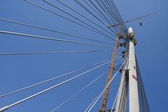 Suspended bridge construction Royalty Free Stock Images