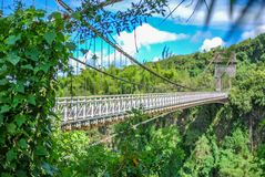 Suspended bridge on la reunion island. Suspended old bridge on la reunion island royalty free stock photo