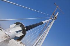 Suspended bridge on river Sava Stock Photography