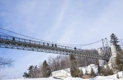 Suspended bridge in winter Stock Image