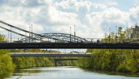 Suspended bridges in Bamberg Stock Photography
