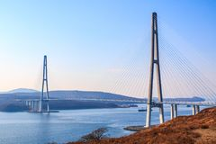 Suspended cable Russian bridge from the mainland of the Far-Eastern city of Vladivostok to the Russky island stock photography