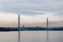Suspended cable Russian bridge from the mainland of the Far-Eastern city of Vladivostok to the Russky island royalty free stock photography