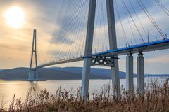 Suspended cable Russian bridge from the mainland of the Far-Eastern city of Vladivostok to the Russky island royalty free stock images