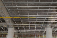 Suspended ceiling system under reconstruction building Royalty Free Stock Photos