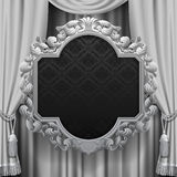 Suspended decorative vintage frame on the curtain background Royalty Free Stock Photo