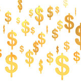 Suspended Dollar golden symbols (3d render) Royalty Free Stock Image