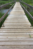 Suspended footbridge over a river. Suspended footbridge over a small river, emphasis on pathway with wooden rough planks Royalty Free Stock Image