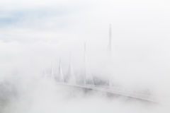 Suspended Highway Bridge in Mist and Clouds ,Millau Viaduct, France Royalty Free Stock Photography