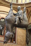 Suspended horse. A David Cerny sculpture of a suspended horse in Prague stock images