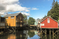 Suspended houses. Above river on a small Alaskan river in Skagway ,Alaska Stock Photos