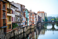 Suspended houses over a river in Castres-France. Taken during a long hike Royalty Free Stock Photography