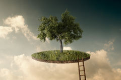 Suspended land. With a single tree and a stairway to go up stock photography