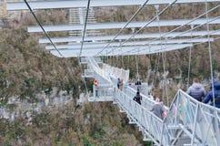 Suspended metal bridge in Sochi. Stock Images