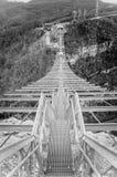 Suspended metal bridge in Sochi. Royalty Free Stock Photo