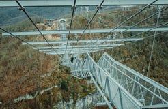 Suspended metal bridge in Sochi. Stock Photo