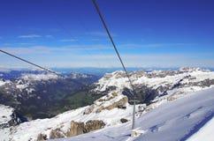 Suspended ropeway in Alps Titlis, Engelberg, Switzerland Royalty Free Stock Image