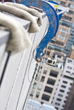 Suspended Scaffold Rigging. Two-point adjustable suspension scaffolds, also known as swing-stage scaffolds, are perhaps the most common type of suspended Stock Photography
