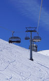 Suspended ski cable car at snow mountains Titlis Royalty Free Stock Photography