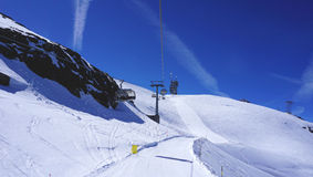 Suspended ski cable car track Royalty Free Stock Image