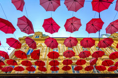 Suspended umbrellas Royalty Free Stock Images