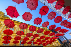 Suspended umbrellas Royalty Free Stock Photography