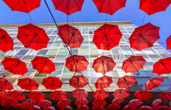 Suspended umbrellas Royalty Free Stock Photos