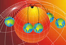 Suspended World Globes. Abstract background with five small world globes hanging from one Big world globe Stock Images