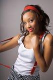 Suspender girl stock photography