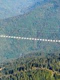 Suspendierungsfußgängerbrücke zwischen Hochgebirge über dem Hubschrauber des Wald A fliegt über die grüne Waldansicht von d stockfotos